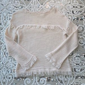 REBECCA TAYLOR Cream Fringe Knit Sweater Sz S